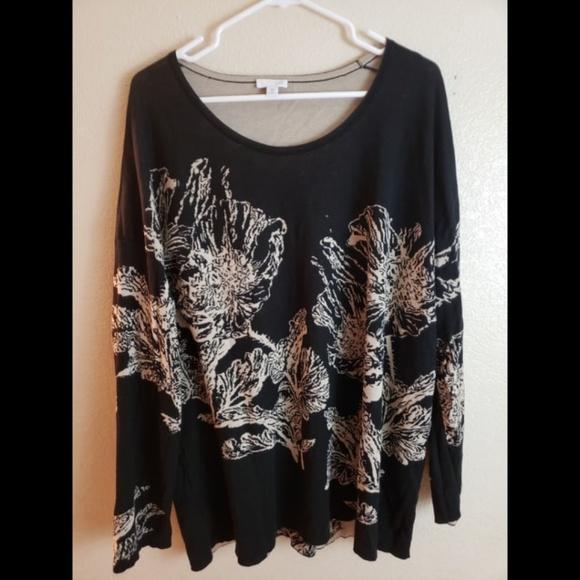 ada40bb0 J. Jill Tops | J Jill Plus 3x Black Floral Boho Knit Blouse Top ...